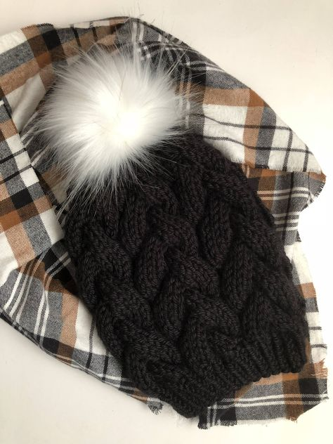 0a342b838f2 Hand Knit Braided Cable Beanie Black with Arctic Fox Faux Fur Pom Acrylic  Bulky Yarn Handmade Skiing Snowboarding Sledding Winter Hat by  kitchenklutter on ...