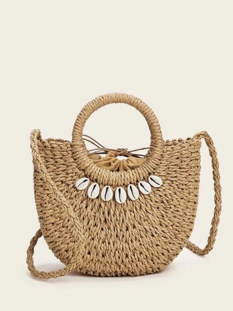 Shell Decor Braided Satchel Bag beach accessories in a curated collection of an inspirational spring fashion layout. #bag #strawbag #summerbag #satchelbag #beigebag #fashion #accessories #beachaccessories