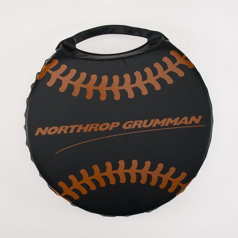 Round Seat Cushion In Black Vinyl With Customized Imprint And Baseball Stripes Printed In Orange Promotional Round Seat Cushions Black Vinyl Vinyl