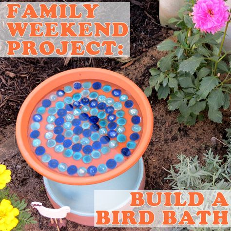 How to Make a Bird Bath from Terra Cotta Pot  :Post image for Family Weekend Project: