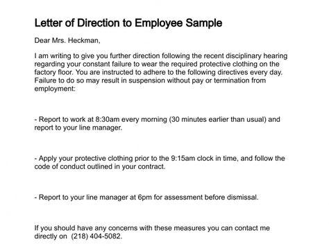 Letter of Direction Work Related Pinterest - dismissal letter