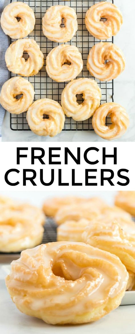 French Crullers – Tornadough Alli Crispy, sweet and absolutely delicious these French Crullers are the perfect breakfast recipe that will satisfy your sweet tooth with minimal ingredients. Donut Recipes, Pastry Recipes, Baking Recipes, Sweet Breakfast, Perfect Breakfast, Baked French Cruller Recipe, Cruller Doughnut Recipe, French Cruller Donut, Gourmet