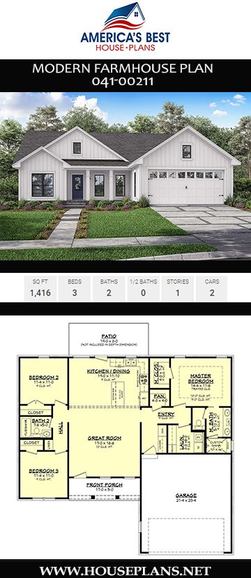 House Plan 041 00211 Modern Farmhouse Plan 1 416 Square Feet 3 Bedrooms 2 Bathrooms House Plans Farmhouse Modern Farmhouse Plans Cottage House Plans