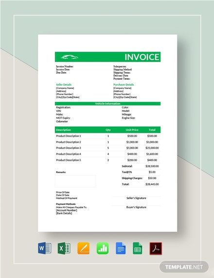 Car Sale Invoice Template Free Pdf Word Excel Apple Pages Google Docs Google Sheets Apple Numbers Invoice Template Invoice Design Template Templates