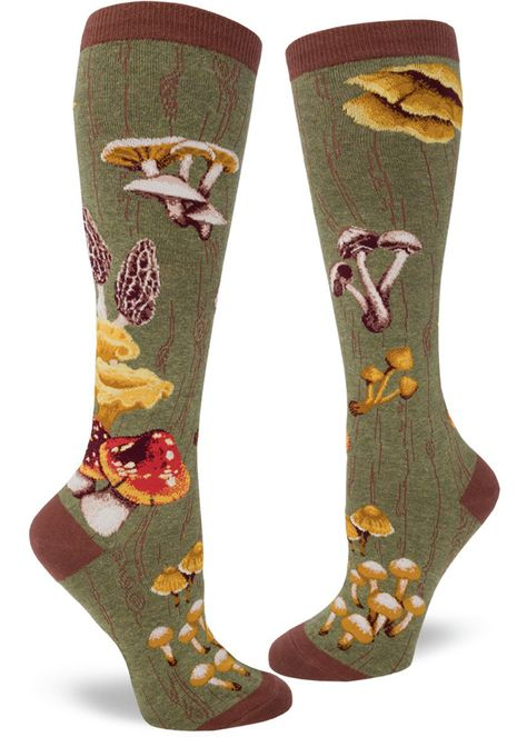Nov 2019 - Mushroom knee socks for women make your legs look like a tree with realistic mushrooms growing out of green woodgrain! Sport Style, Style Me, Goth Style, Mode Alternative, Alternative Fashion, Mode Hippie, Mein Style, Knee High Socks, High Boots
