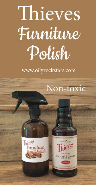 """Thieves Furniture Polish #essentialoils #DIYfurniturepolish I must admit, I used to love the smell of Lemon Pledge. However, it's been my """"mom mission"""" to have a completely non-toxic environment for my family..."""