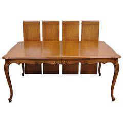 French Cherrywood Louis Xv Style Draw Leaf Dining Table Fully