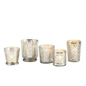 Mercury glass votives holders for the tables.
