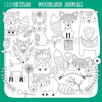 Woodland Animal Clipart Cute Forest Animals Woodland Animals Woodland Animal Prints Animal Doodles