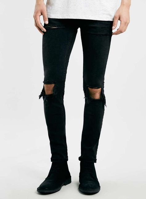 $85, Black Ripped Jeans: Topman Washed Black Rip Stretch Skinny Jeans. Sold by Topman. Click for more info: https://lookastic.com/men/shop_items/243464/redirect