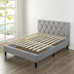 Olveston Upholstered Platform Bed In 2020 Fabric Upholstered Bed Upholstered Storage Wooden Bed Slats