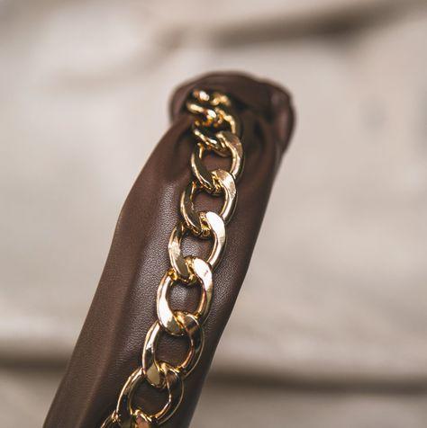Rihanna Leather Chain Headband - Brown