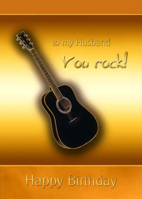 Happy Birthday To My Husband You Rock Black Guitar Card In 2020