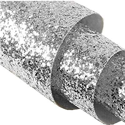 Self Adhesive Silver Chunky Glitter Wallpaper Peel And Stick Roll Decor Sparkle Glitter Fabr Silver Glitter Wallpaper Glitter Wallpaper Glitter Paint For Walls