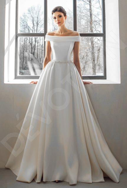Corsa Classic Satin Wedding Dress Dark Ivory Devotiondresses Com