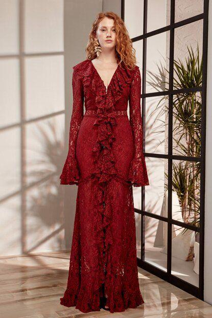Carissa Bordo Fermuar Detayli Abiye Elbise Tdpss19de0024 Raisa Vanessa Trendyol Elbise Gecelikler The Dress