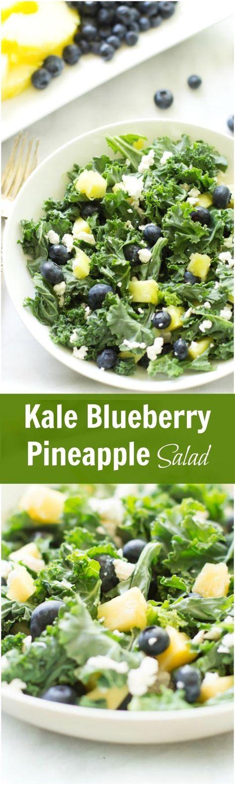 Kale Blueberry Pineapple Salad - Kale blueberry pineapple salad is sweet, tart, and full of vitamins. #kalesalad #healthylunch #blueberrypineapple #summersalad #primaverakitchen