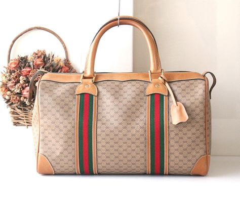 567521b162f Authentic Gucci boston Duffle Red Green Vintage Tote Handbag ...