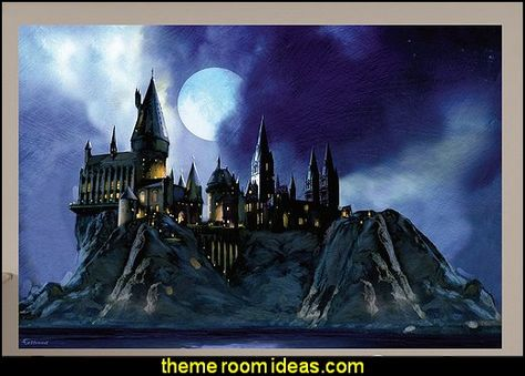 ... Harry Potter Wall Mural Hogwarts Castle Wall Mural Harry Potter Bedroom  Wall Decorations ...