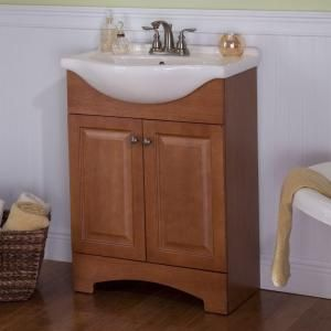 Glacier Bay Chelsea 24 In. Vanity In Nutmeg With Porcelain Vanity Top In  White With White Basin CH24EUP2COM N At The Home Depot $129   Pinterest