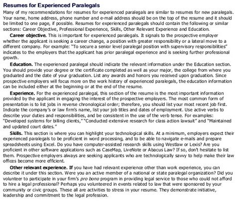 Resume tips for experienced paralegals Career Pinterest - paralegal resume skills