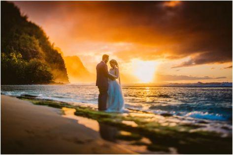 Bride And Groom At Ke E Beach At Sunset Kauai Hawaii