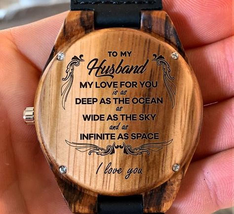 To My Husband - My Love For You Is Deep as The Ocean Engraved Wooden Watch, Wood Gifts for Husband,