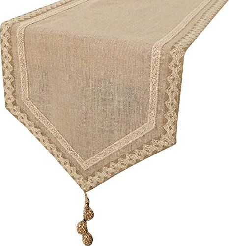 The Homecentric Handmade Designer Decorative Table Runners Natural Beige Ivory 14 X 120 Inch Cotton Linen Jute Lace Jute Lace Embroidered On Linen