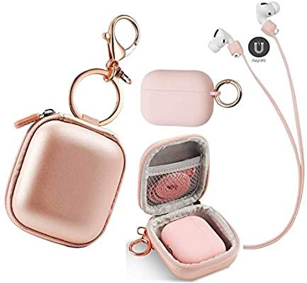 Amazon Com 4 In 1 Airpods Case Keychain Airpods Pro Case Pink With Keychain Premium Pu Leather Hard Ca Phone Case Accessories Apple Accessories Earbuds Case