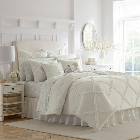 Laura Ashley Adelina Ruffle White Full/queen Duvet Set - A white on white dimensional lattice made of appliqued ruffles can be a pristine design statement on its own or a versatile base for layering and creating your own personal look. Ruffle Comforter, Queen Comforter Sets, King Comforter, Duvet Sets, Cotton Duvet, Queen Duvet, White Ruffle Bedding, King Cotton, King Duvet Cover Sets