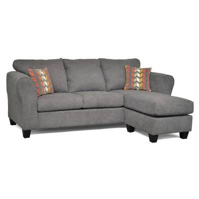 61 75 Flared Arm Loveseat Couch With Chaise Sectional Sofa