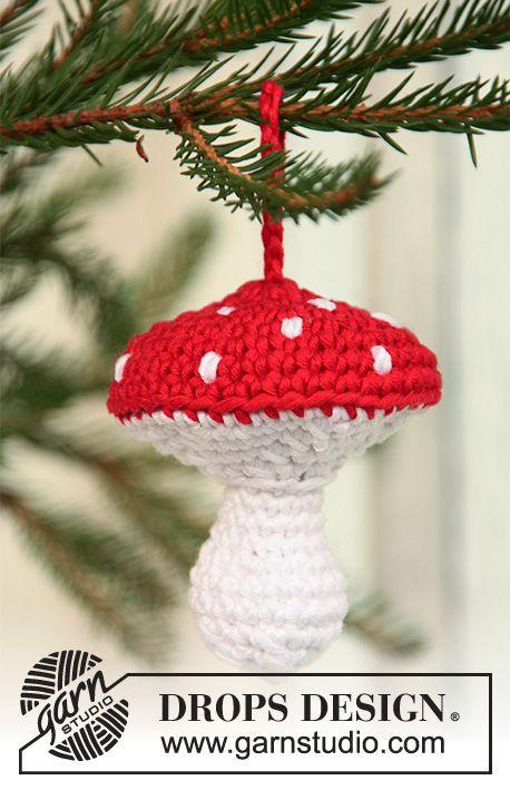 Merry Mushroom Drops Extra 0 723 Crochet Drops Christmas Mushroom In Muskat Christmas Crochet Crochet Mushroom Christmas Knitting