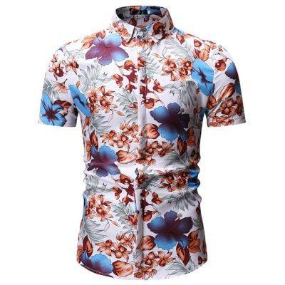 Mens Print Pattern Slim Short Sleeve Poker Lapel Fashion Beach Polo Shirt