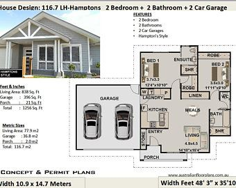 Small House Plan Australia 2 Bedroom Small Home Design Etsy House Plans Australia Small House Design Small House Plans