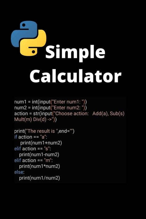Find addition, subtraction, multiplaction and division with Python Calulator