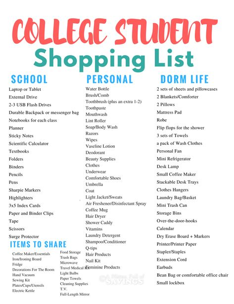High School Supply List, College Supply List, College Dorm List, Back To School List, College Goals, College Dorm Essentials, School Supplies Highschool, College Life Hacks, College Checklist