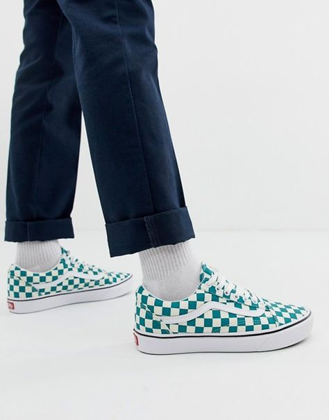 Vans Old Skool Checkerboard Sneakers In Green Vans Vans Old Skool Vans Classic Slip On Sneaker