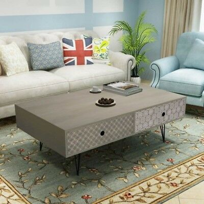 Modern Coffee Table Gray Drawers Living Room Storage Bedroom Side End Stand Ebay In 2020 Retro Living Room Furniture Coffee Table Vintage Retro Coffee Tables