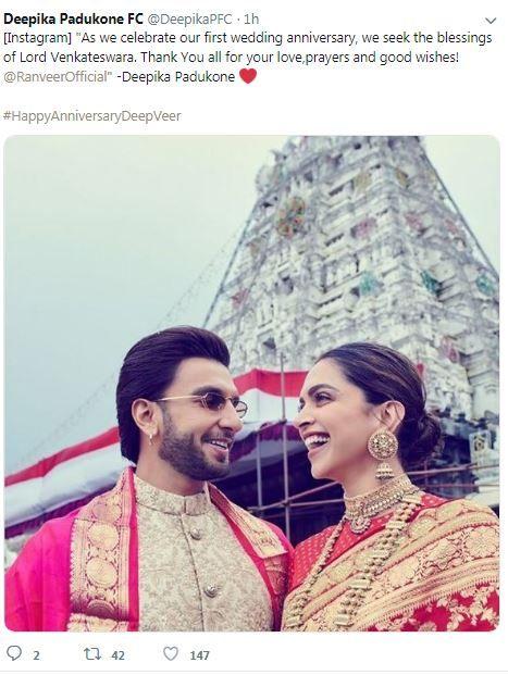 Deepika Padukone Ranveer Singh Leave For Tirupati For Their First Anniversary Celebrations First Anniversary Ranveer Singh Deepika Ranveer