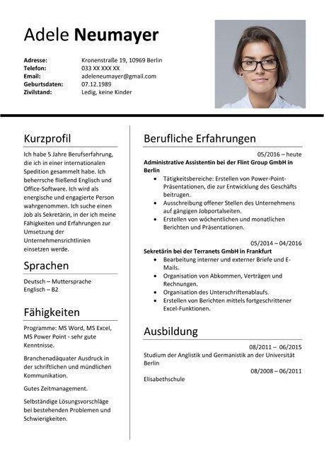 Great Deutsch Cv Template Picture Di 2020