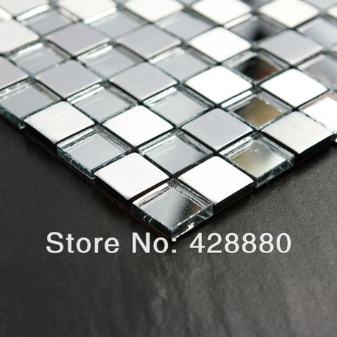 Metallic Mosaic Adhesive Tile Sheets Glass Mosaic Crystal