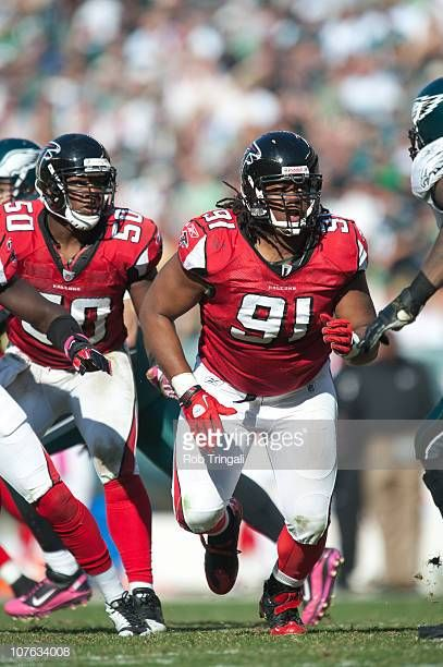 Corey Peters Of The Atlanta Falcons Defends Against The Philadelphia Atlanta Falcons Atlanta Falcons