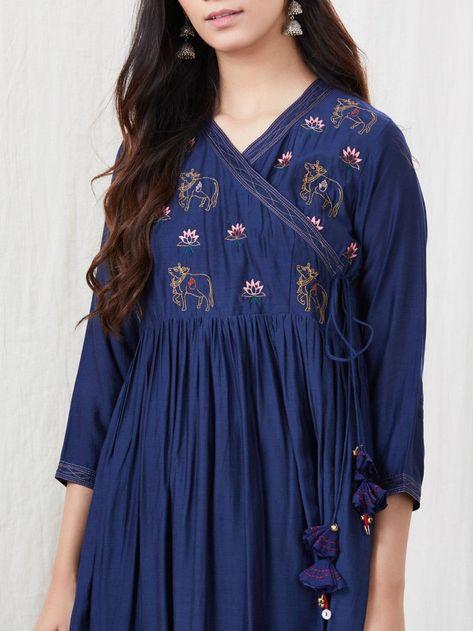 Navy Blue Zari Embroidered Cotton Silk Angrakha Kurta with White Palazzo- Set of 2