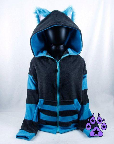 Pawstar CHESHIRE Cat #hoodie - Furry Kitty Ears jacket Pink & Purple Tim Burton Grey Turquoise Stripe