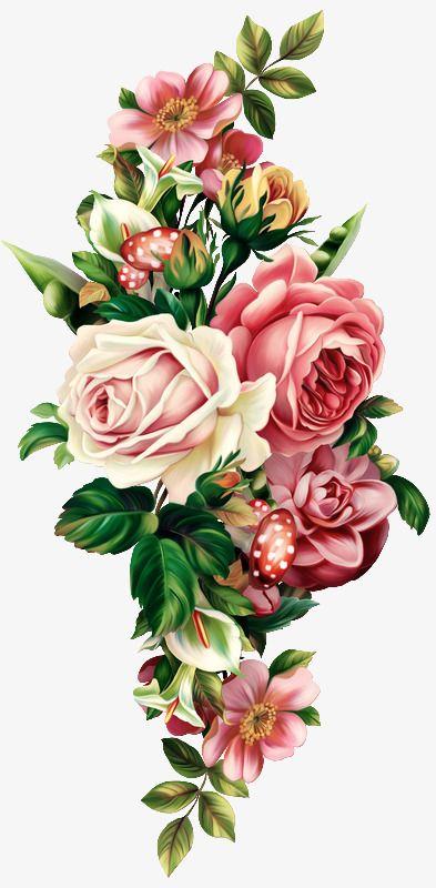 Vintage Floral Botanical Pull Free Flower Bouquet Drawing Vintage Flowers Floral Botanical