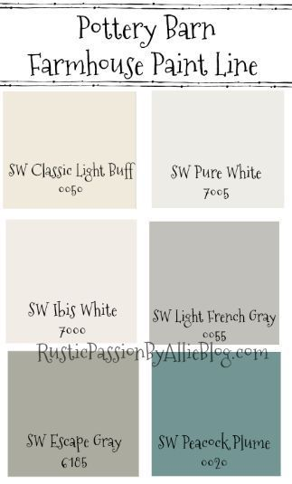 Pottery Barn Sherwin Williams Farmhouse Neutral Paint Color Guide Farmhouse Paint Farmhouse Paint Colors Pottery Barn Paint