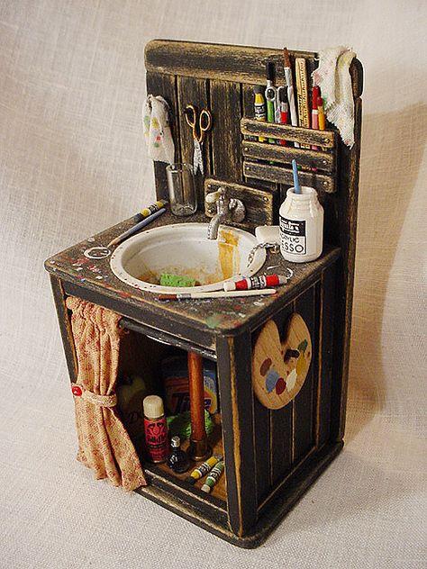 miniature art studio sink is part of Doll house - Miniature Art Studio Sink artStudio Sink Vitrine Miniature, Miniature Rooms, Miniature Crafts, Miniature Houses, Miniature Furniture, Dollhouse Furniture, Fairy Furniture, Barbie Furniture, Diy Dollhouse