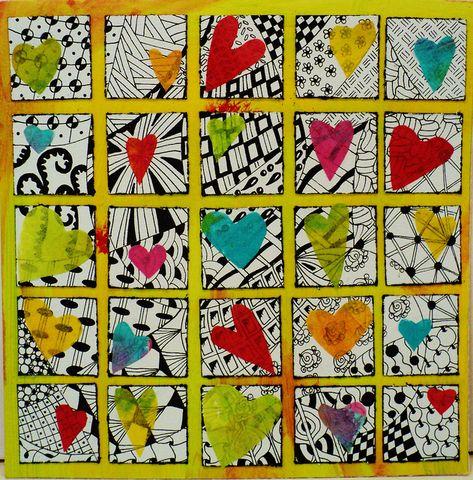 Tissue paper hearts over black and white designs. Valentine's Day?