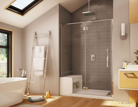 Introducing A Luxury Acrylic Shower Base Line With An Innovative Bench Seat Walk In Bathroom Showers Fiberglass Shower Small Bathroom With Shower