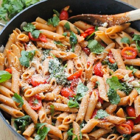 Fire roasted tomato pasta done in a flash!